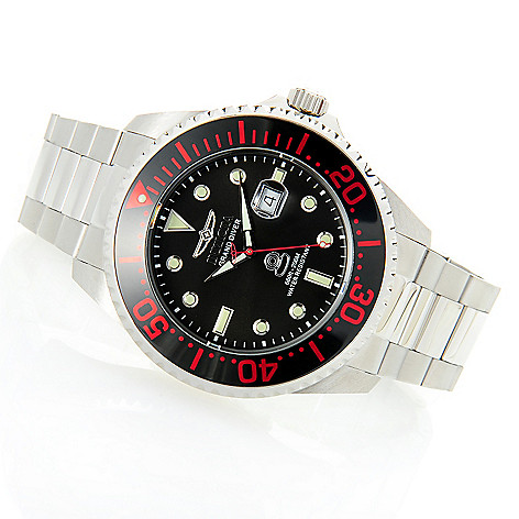 626-611 - Invicta 54mm Grand Diver Quartz Stainless Steel Bracelet Watch w/ Eight-Slot Dive Case