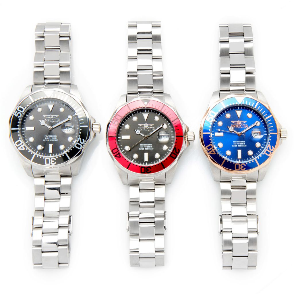 626-618 - Invicta Set of Three 47mm Grand Diver Quartz Stainless Steel Bracelet Watches w/ 3-Slot Dive Case