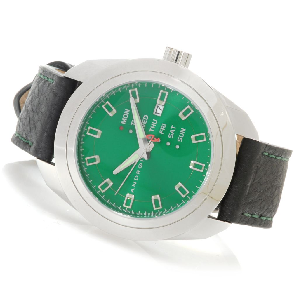 626-637 - Android 47mm Impetus Quartz Stainless Steel Leather Strap Watch
