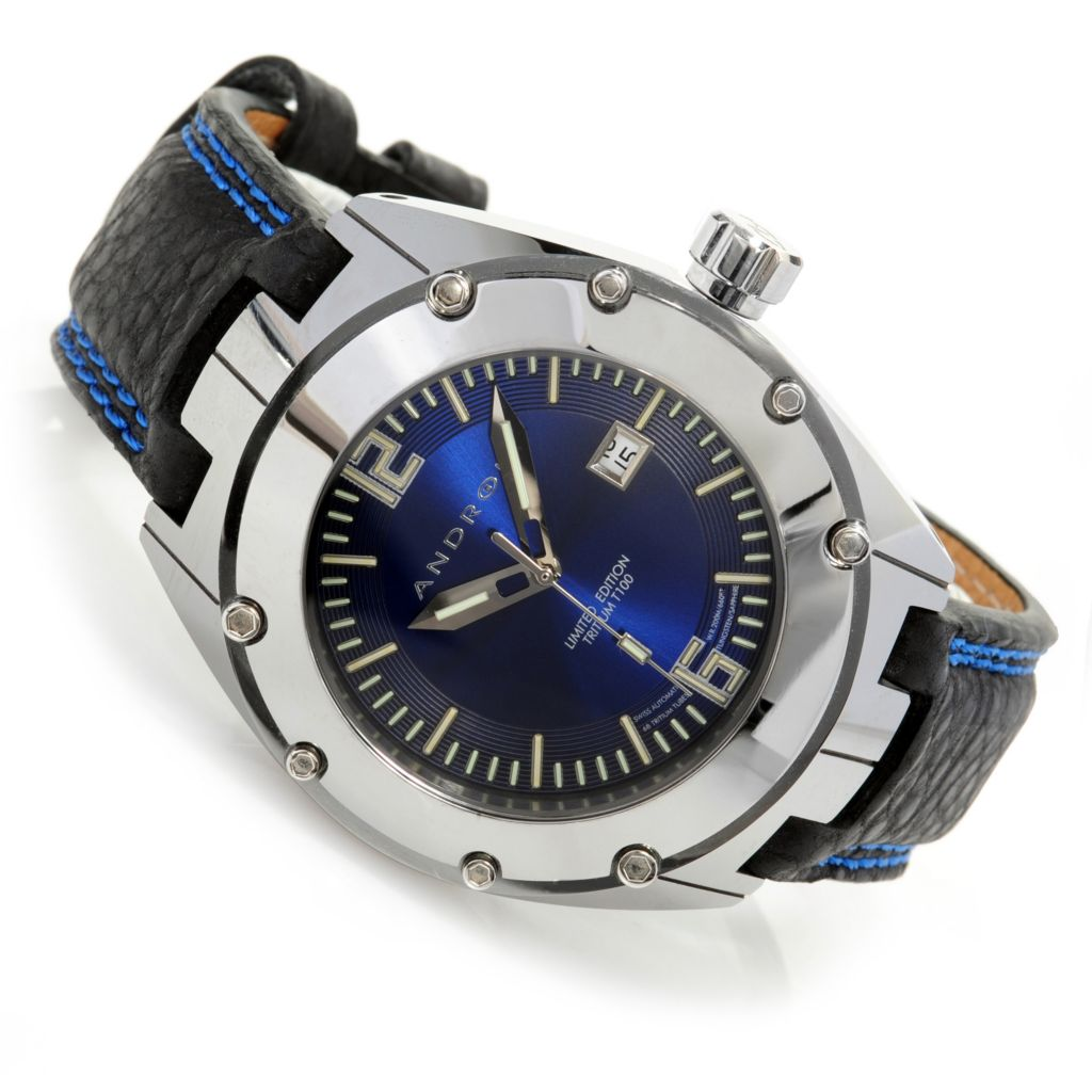 626-642 - Android 49mm Virtuoso T100 Limited Edition Automatic Tungsten Case Leather Strap Watch