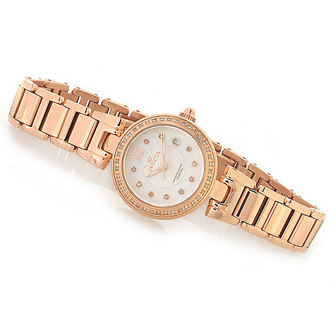 626-643 - Invicta Women's Angel Quartz Diamond Accented Mother-of-Pearl Bracelet Watch