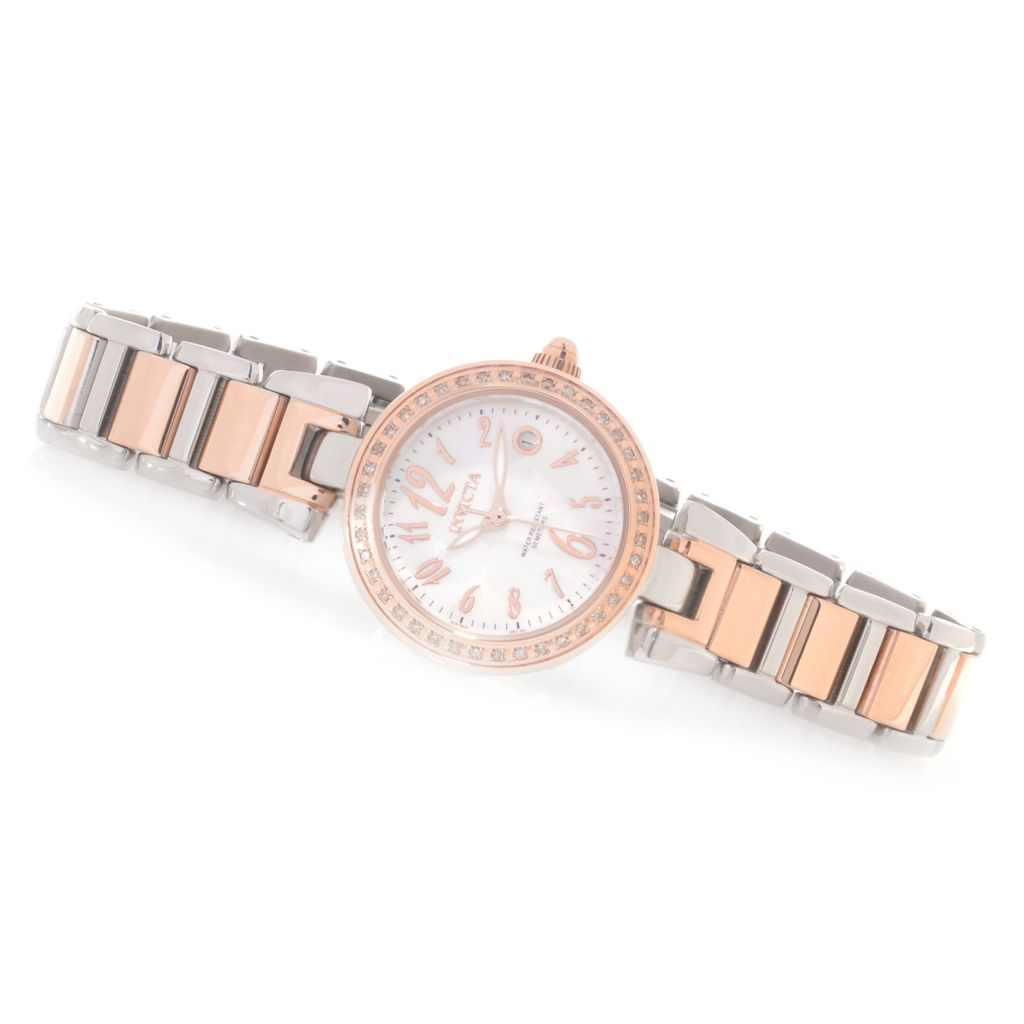 626-644 - Invicta Women's Angel Quartz Diamond Accented Mother-of-Pearl Stainless Steel Bracelet Watch