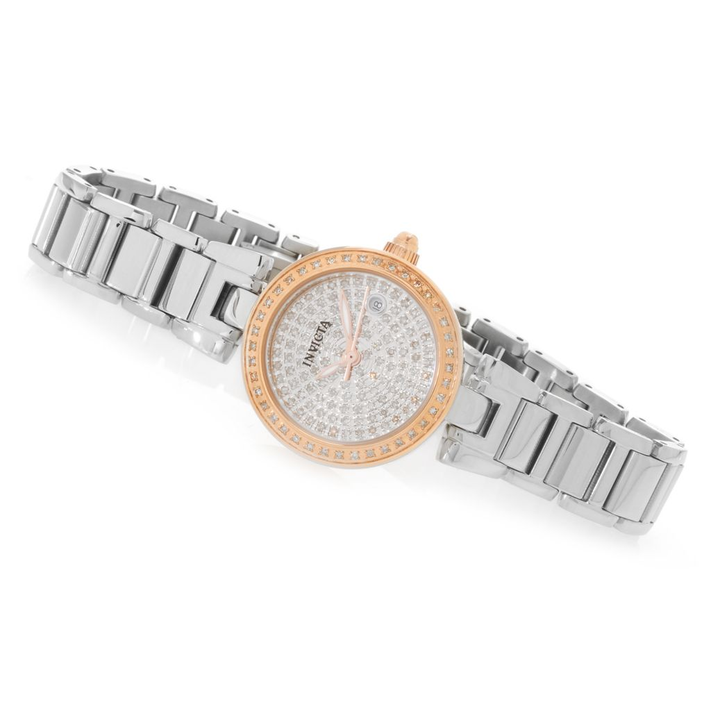 626-645 - Invicta Women's Angel Quartz Diamond Pave Dial Stainless Steel Bracelet Watch