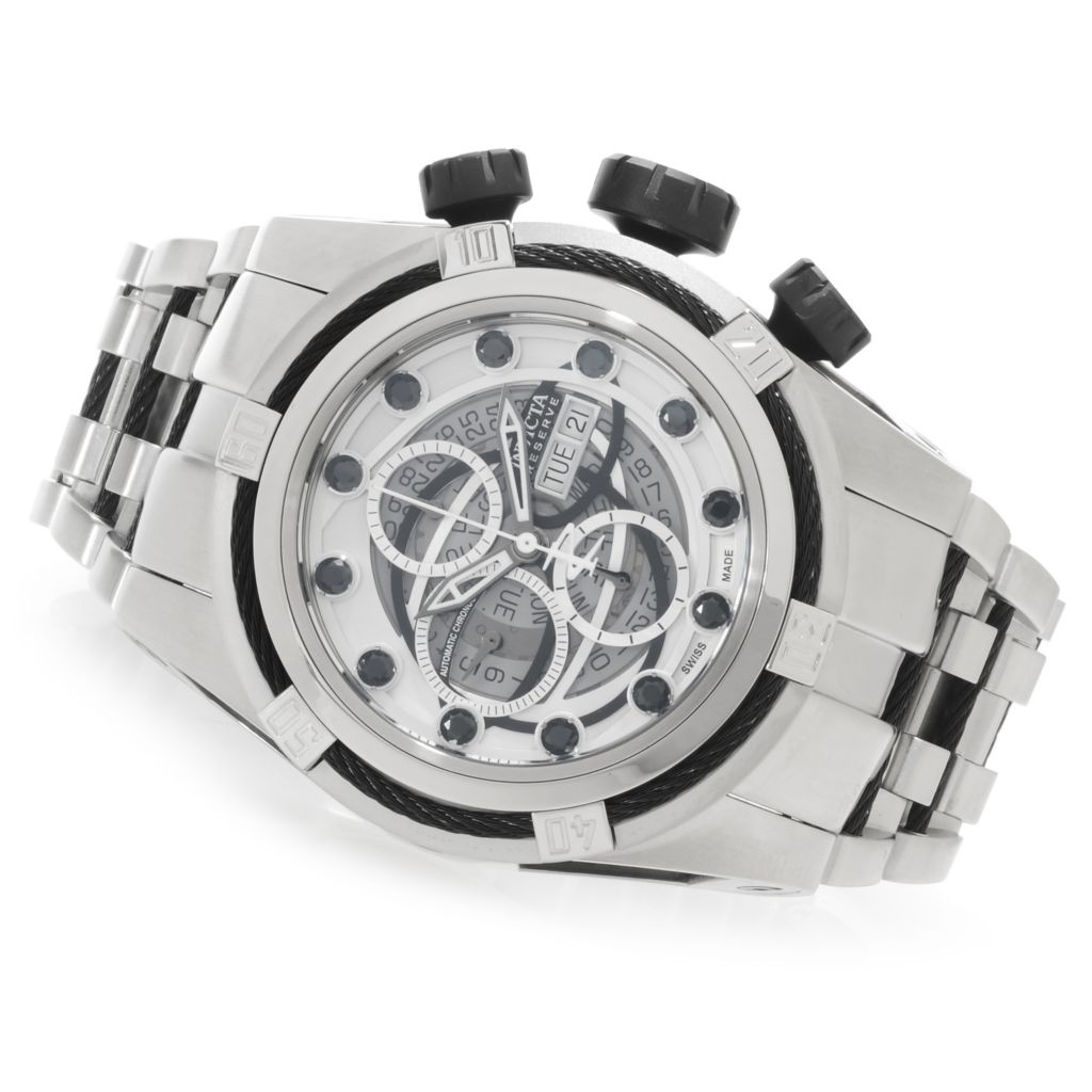 626-662 - Invicta Reserve 53mm Bolt Zeus SW500 Automatic Black Spinel Bracelet Watch