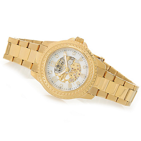 626-663 - Invicta Women's Angel Mechanical Mother-of-Pearl Skeletonized Dial Bracelet Watch