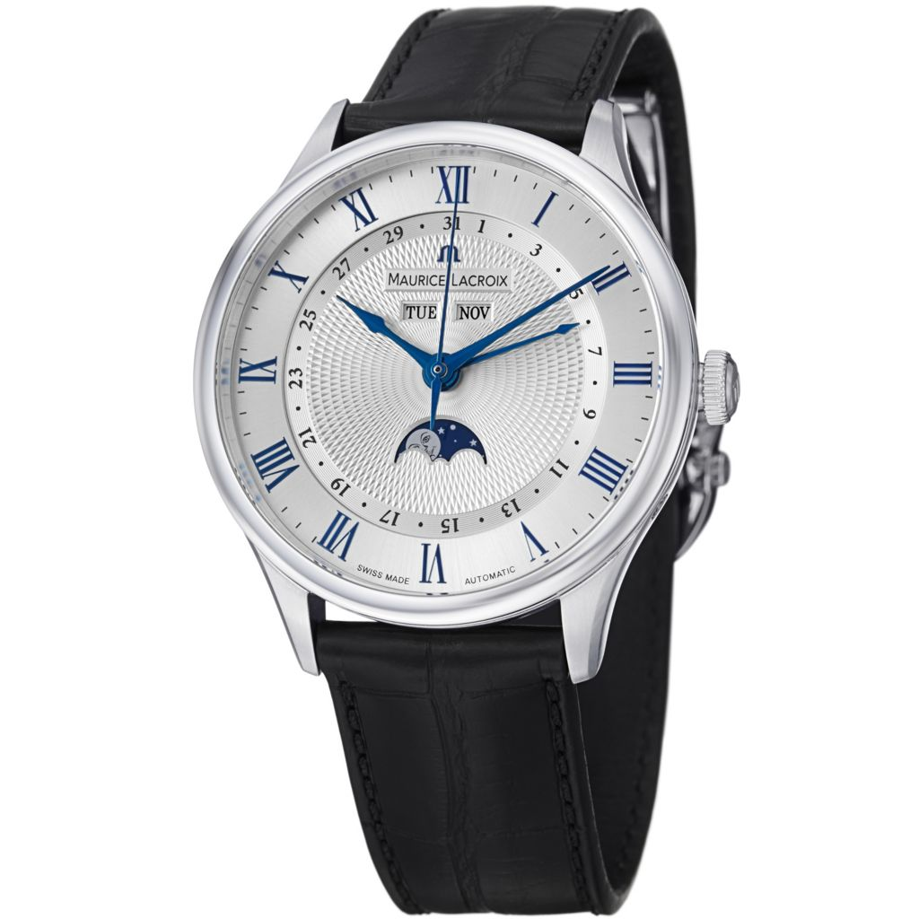 626-692 - Maurice Lacroix 40mm Masterpiece Swiss Automatic Moon Phase Crocodile Strap Watch