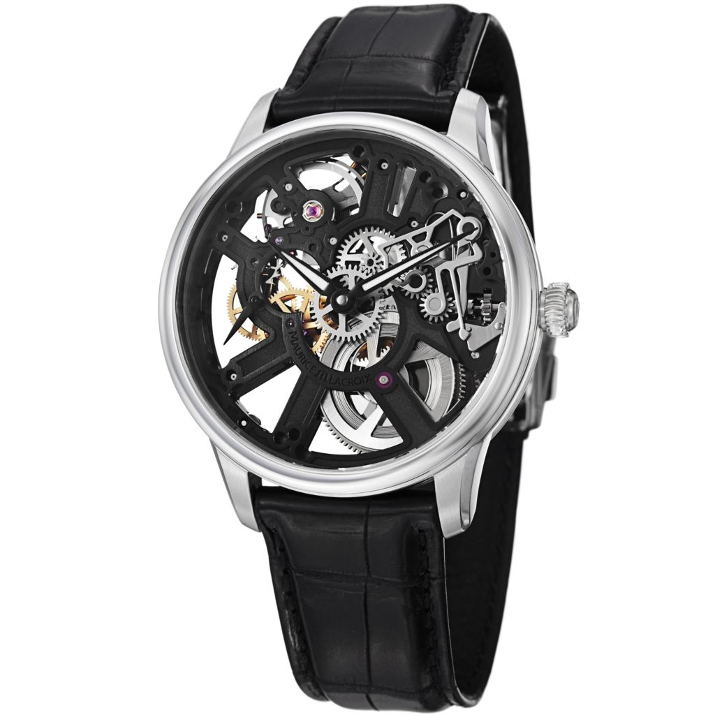 626-693 - Maurice Lacroix 43mm Masterpiece Swiss Mechanical Skeletonized Dial Crocodile Strap Watch
