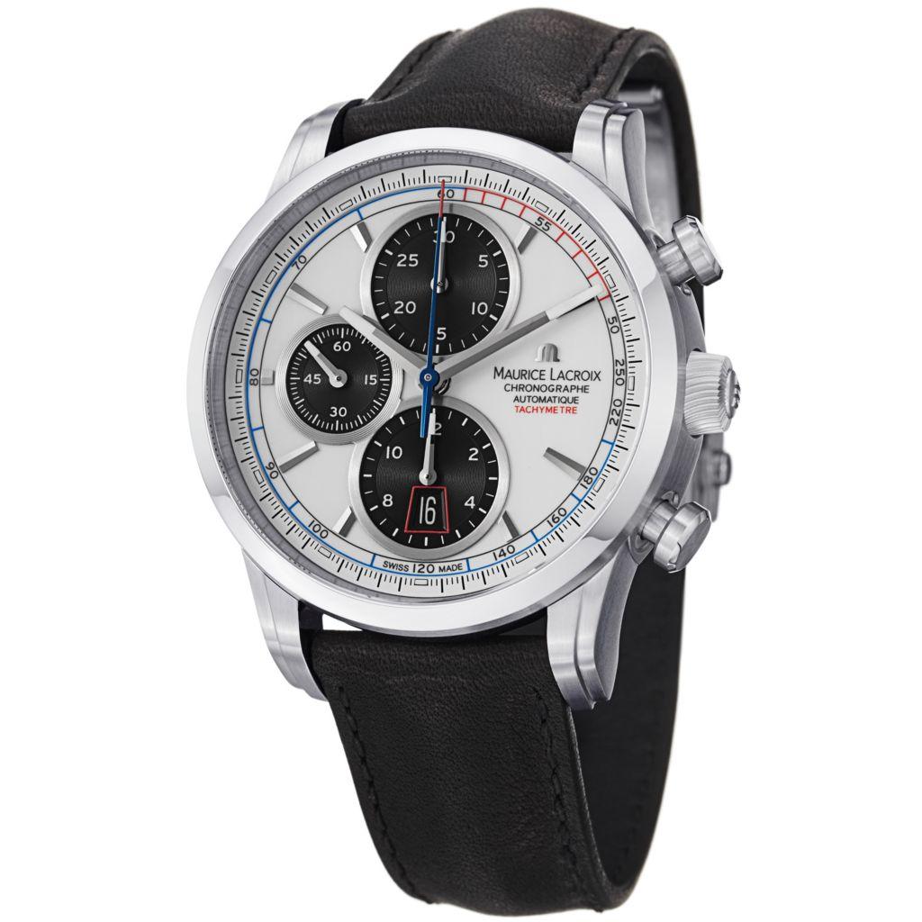 626-694 - Maurice Lacroix 43mm Pontos Swiss Automatic Chronograph Crocodile Strap Watch