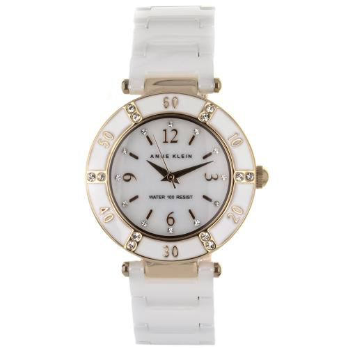 626-706 - Anne Klein Women's Classic Quartz Mother-of-Pearl Dial Crystal Accented Bracelet Watch