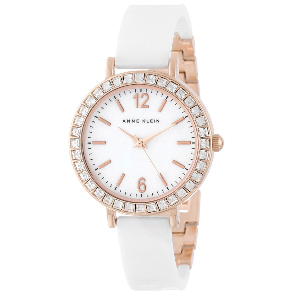 626-712 - Anne Klein Women's Classic Quartz Crystal Bezel Ceramic/Metal Bracelet Watch