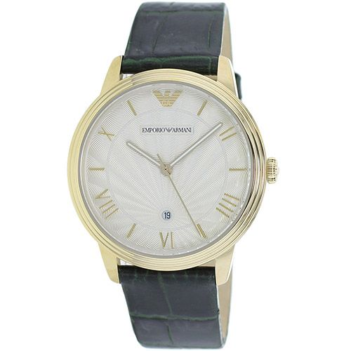 626-721 - Emporio Armani 41mm Retro Quartz Date Leather Strap Watch