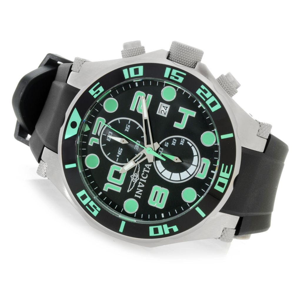626-747 - Invicta 50mm Pro Diver Ocean Scuba Quartz Chronograph Polyurethane Strap Watch w/ One-Slot Dive Case