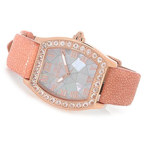 626-750 - Invicta Women's Angel Quartz Morganite Bezel Stingray Strap Watch
