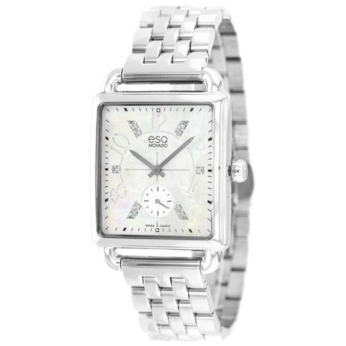 626-754 - ESQ Movado Women's Origin Swiss Quartz Mother-of-Pearl Diamond Accented Bracelet Watch