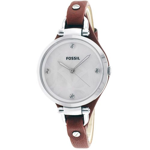 626-758 - Fossil Women's Georgia Quartz Crystal Accented Leather Strap Watch