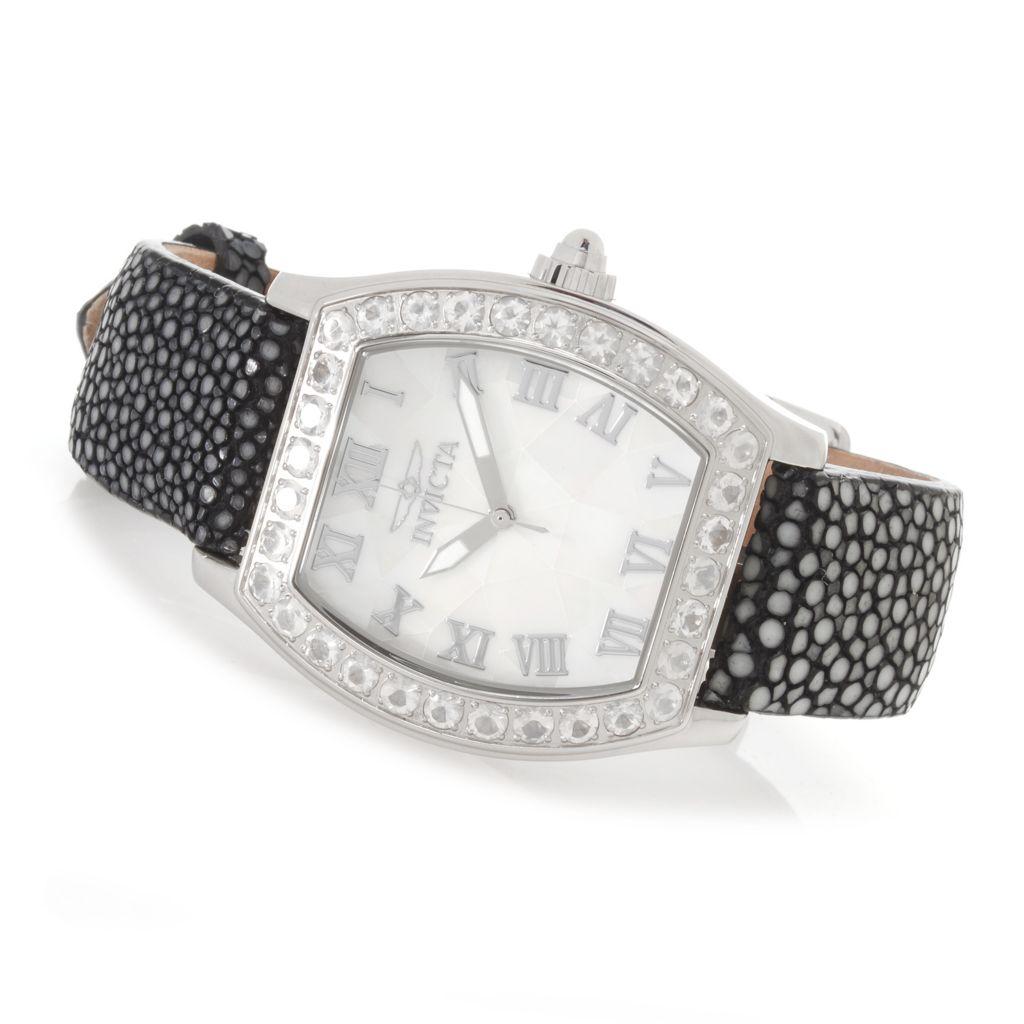 626-780 - Invicta Women's Angel Quartz Blue Moon Bezel Stringray Strap Watch