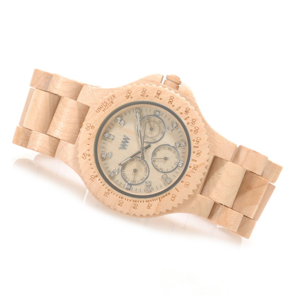 "626-782 - WeWOOD 42mm ""Cygnus"" Quartz Crystal Accented Wooden Bracelet Watch"