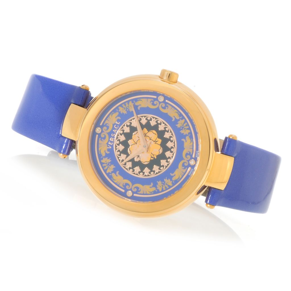 626-788 - Versace Women's Mystique Foulard Swiss Made Quartz Diamond Accented Genuine Leather Strap Watch