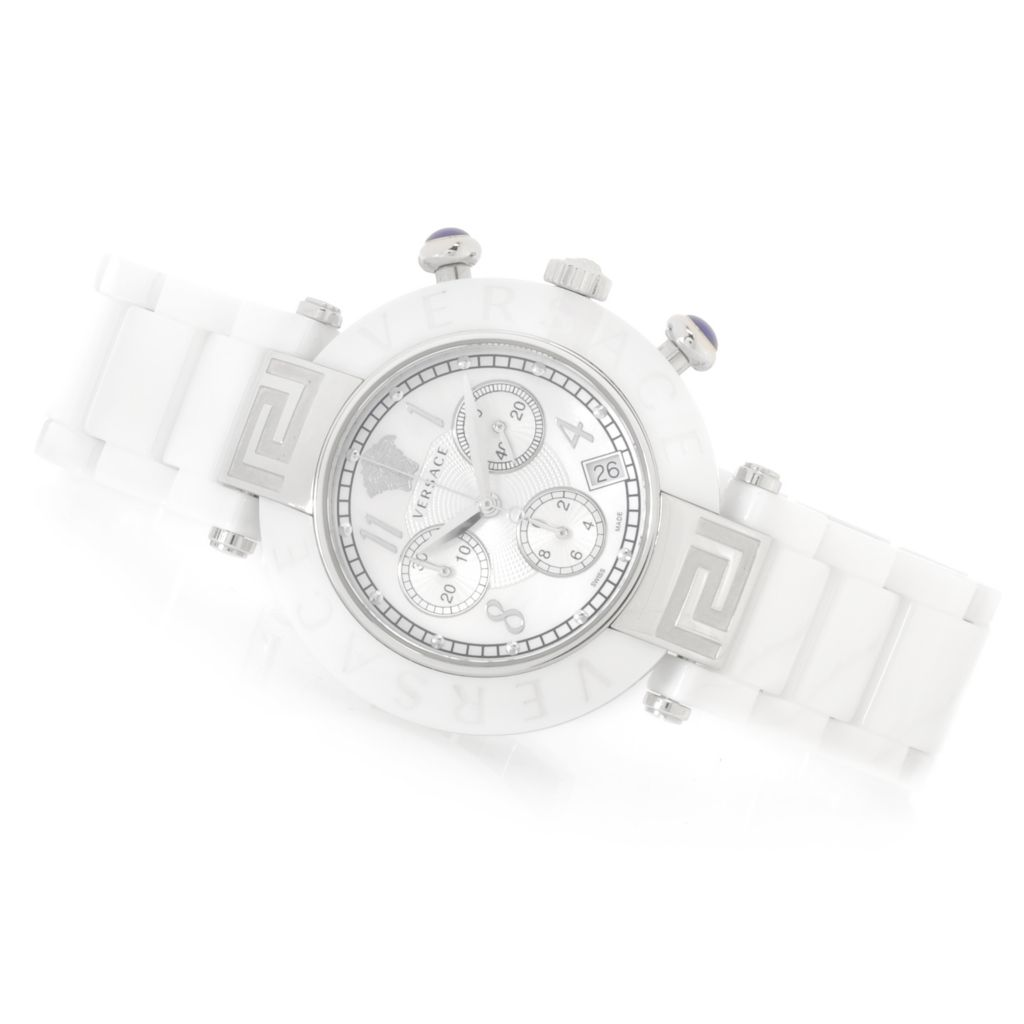 626-789 - Versace Women's Reve Swiss Made Quartz Chronograph Ceramic Bracelet Watch