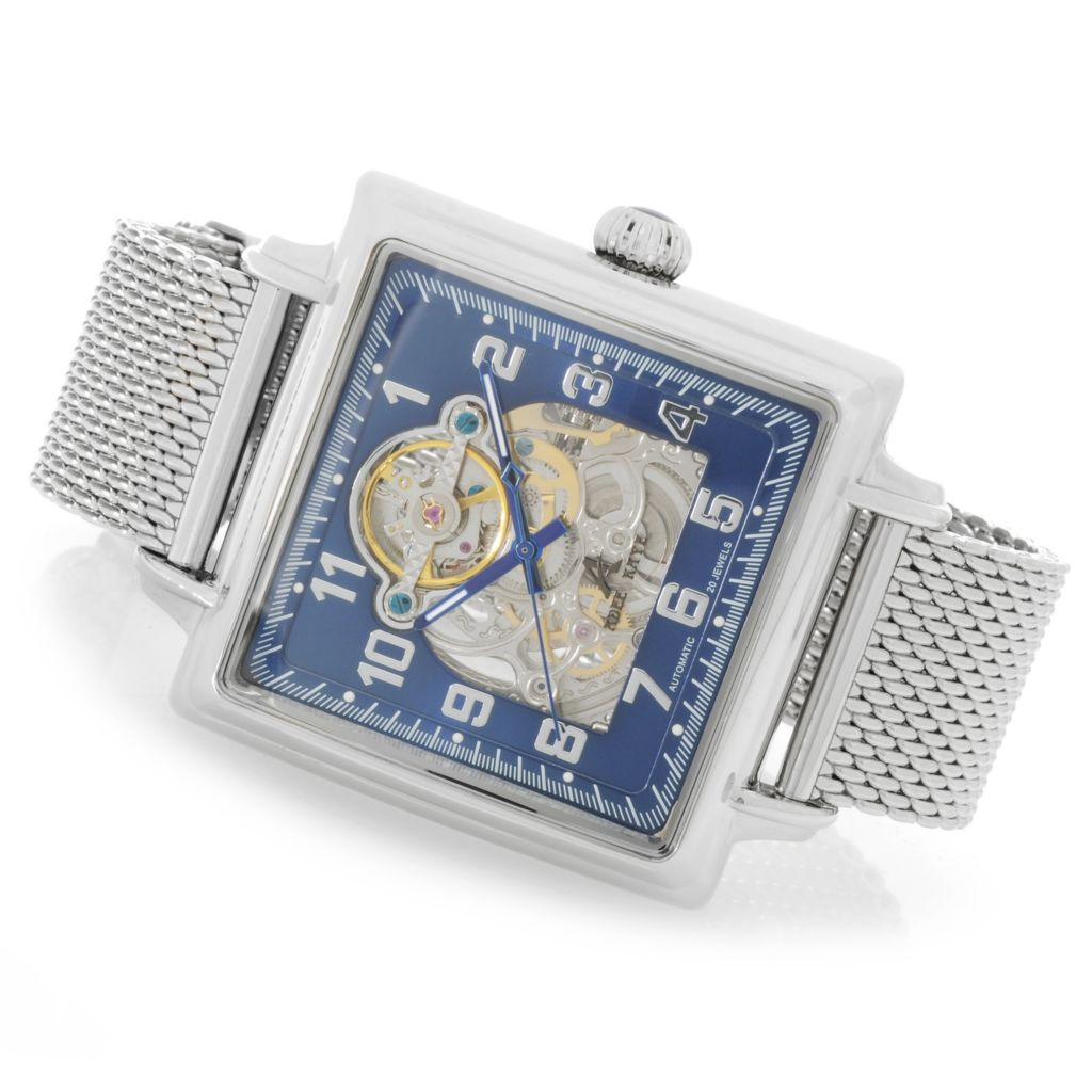 626-795 - Adee Kaye 43mm Elegante Automatic Skeletonized Stainless Steel Mesh Strap Watch