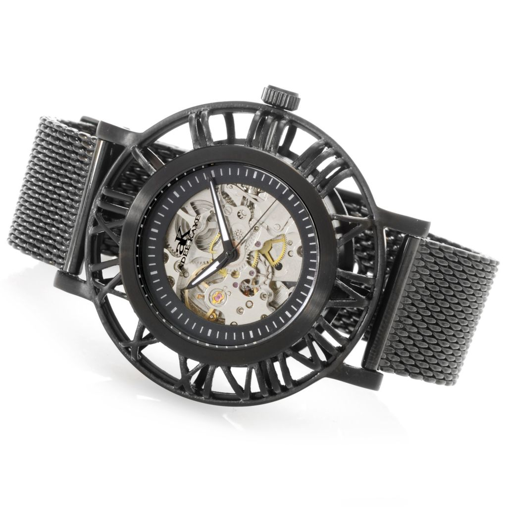 626-796 - Adee Kaye 47mm Helm Automatic Skeletonized Stainless Steel Mesh Strap Watch