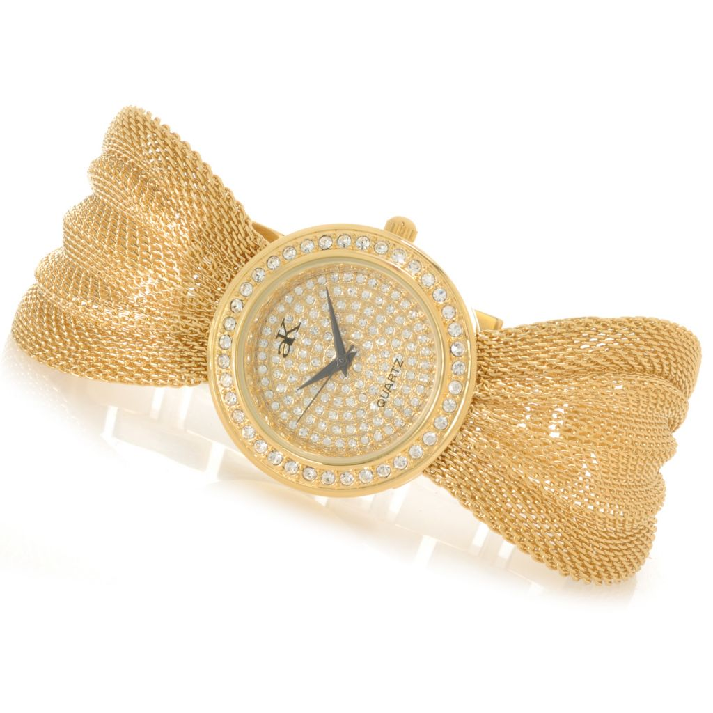 626-798 - Adee Kaye Women's Fame Quartz Crystal Accented Mesh Bracelet Watch