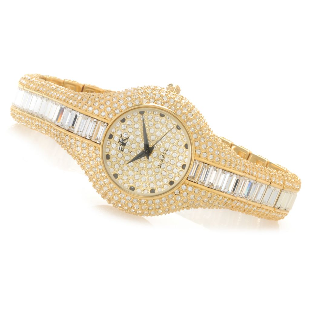 626-799 - Adee Kaye Women's Corona Royal Quartz Crystal Accented Bracelet Watch