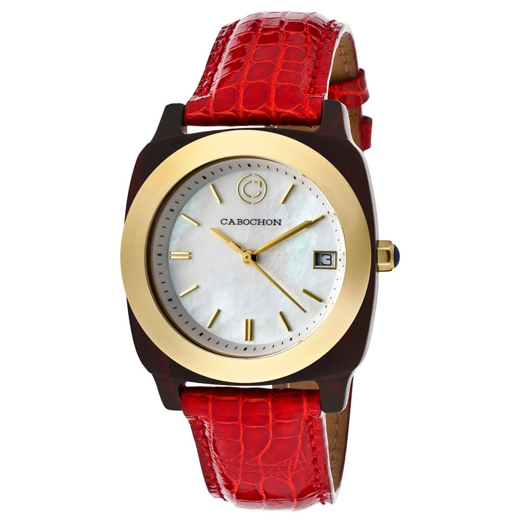 626-808 - Cabochon Women's Bois Swiss Quartz Mother-of-Pearl Dial Wood Case Alligator Strap Watch