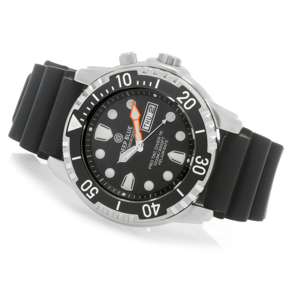 626-830 - Deep Blue 45mm Pro Tac Diver 1000m Quartz Stainless Steel Silicone Strap Watch