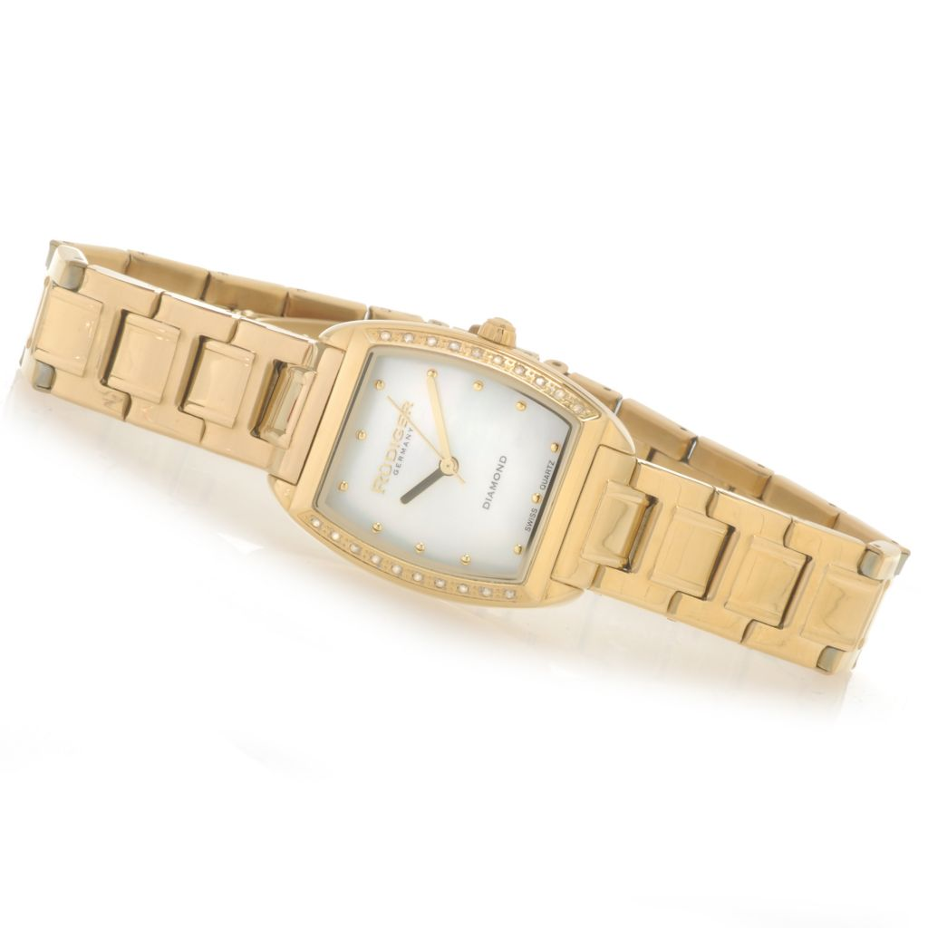 626-832 - Rudiger Women's Bonn Swiss Quartz Diamond Accented Mother-of-Pearl Bracelet Watch