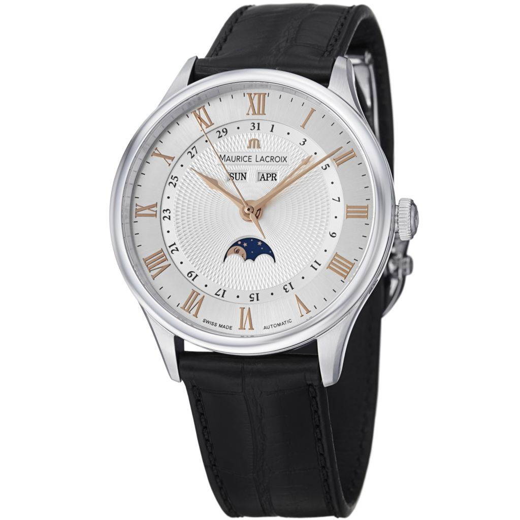 626-833 - Maurice Lacroix 40mm Masterpiece Tradition Swiss Automatic Moonphase Strap Watch
