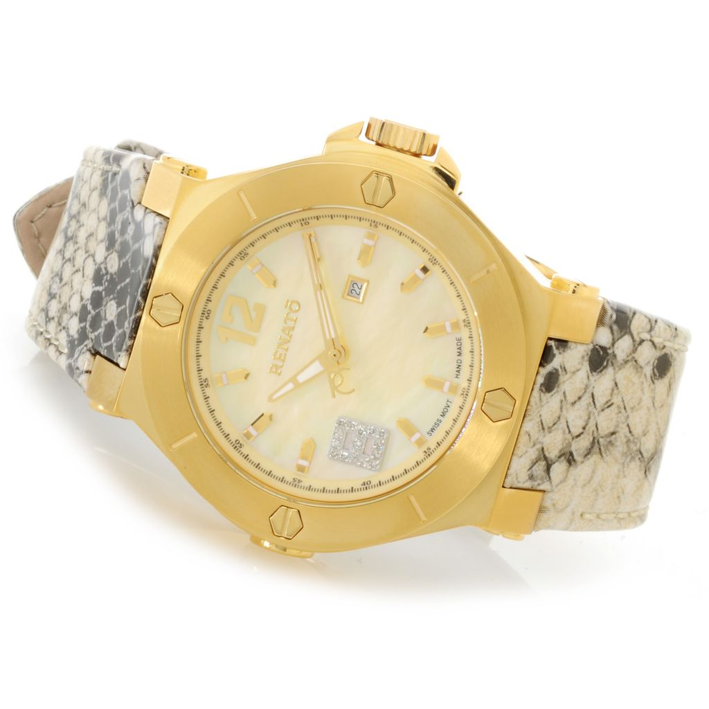 626-838 - Renato Women's Beauty Swiss Quartz Diamond Accented Patterned Leather Strap Watch