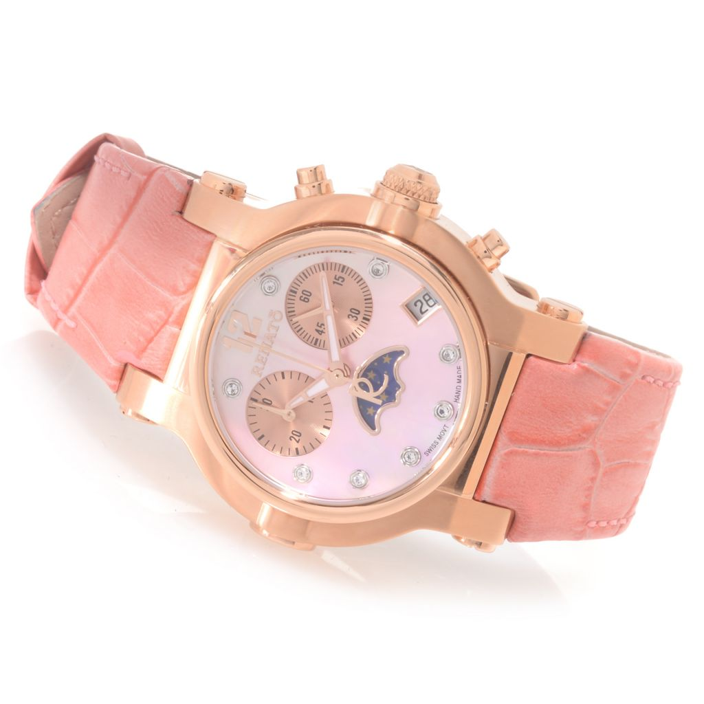 626-849 - Renato Women's Beauty Swiss Quartz Chronograph Moon Phase Leather Strap Watch