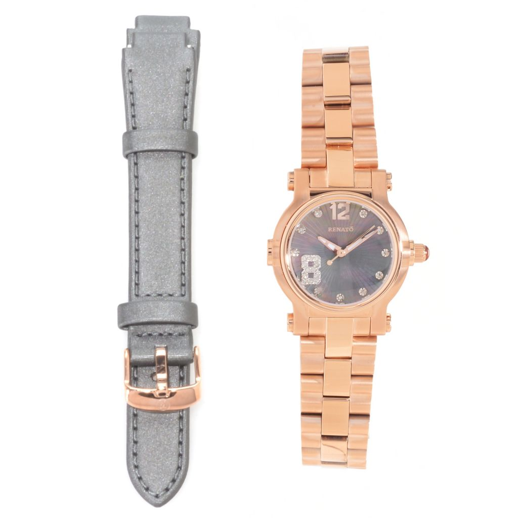 626-850 - Renato Women's Beauty Petite Diamond Accented Stainless Steel Bracelet Watch w/ Additional Strap