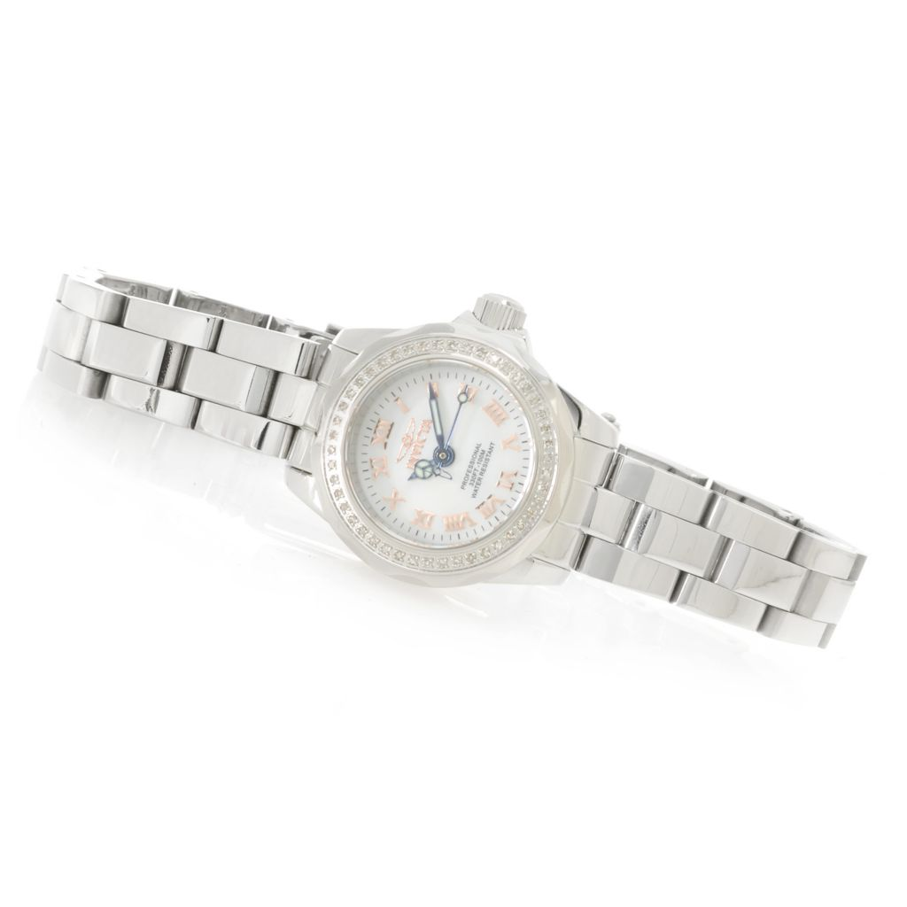 626-853 - Invicta Women's Wildflower Quartz Diamond Accented Bezel Mother-of-Pearl Bracelet Watch