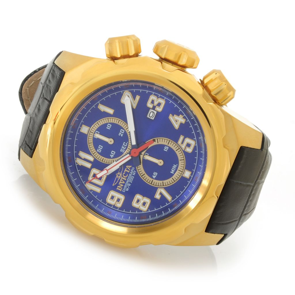 626-856 - Invicta 52mm Pro Diver Quartz Chronograph Leather Strap Watch w/ One-Slot Dive Case