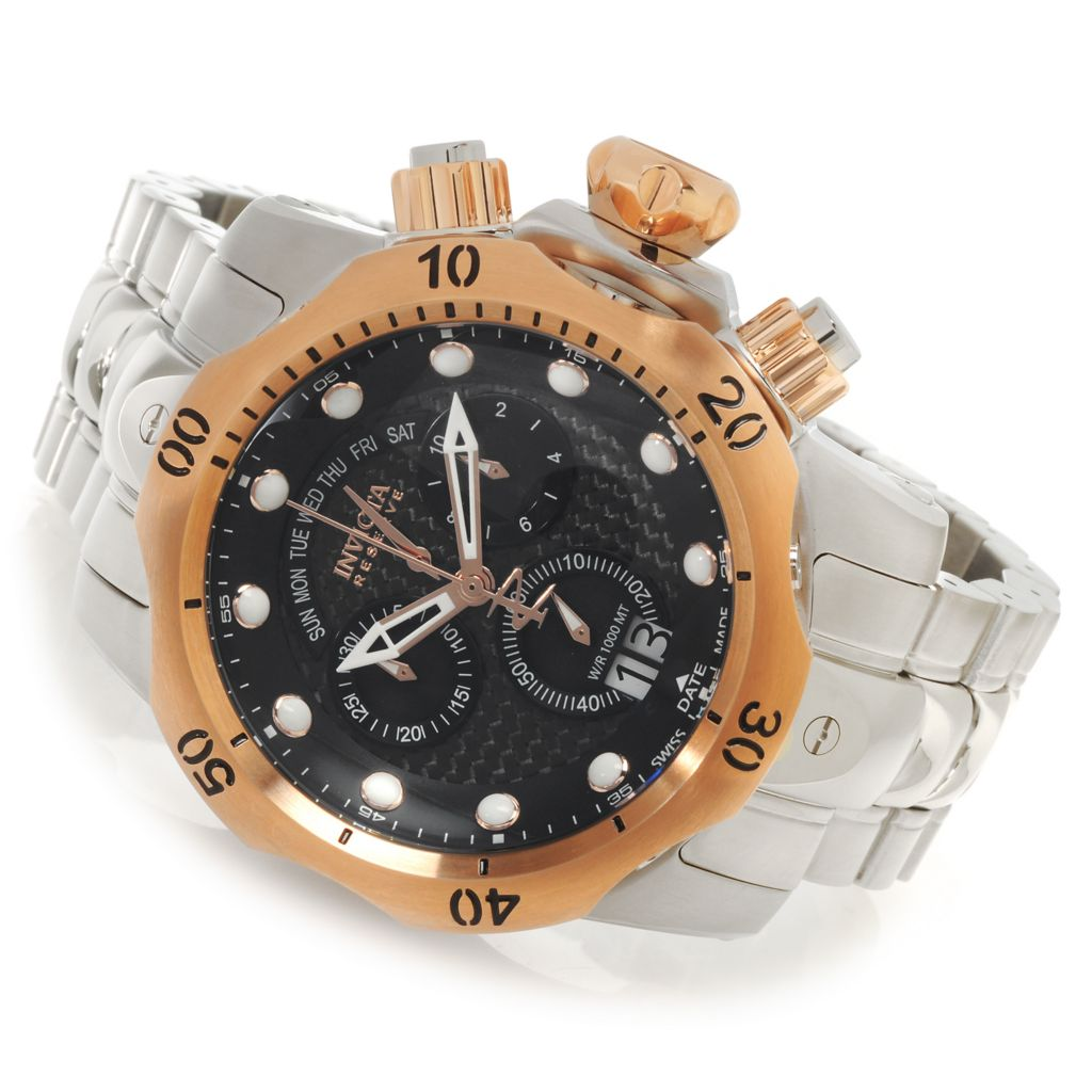 626-857 - Invicta Reserve 52mm Venom Swiss Chronograph Bracelet Watch w/ One-Slot Dive Case
