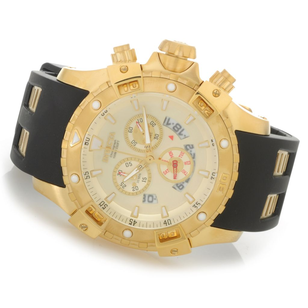 626-858 - Invicta 48mm Specialty Quartz Chronograph Polyurethane Strap Watch w/ One-Slot Dive Case
