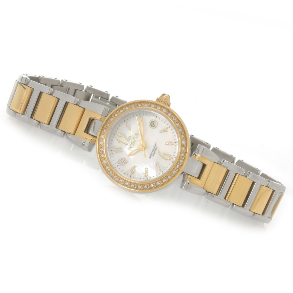 626-860 - Invicta Women's Angel Quartz Crystal Accented Mother-of-Pearl Bracelet Watch