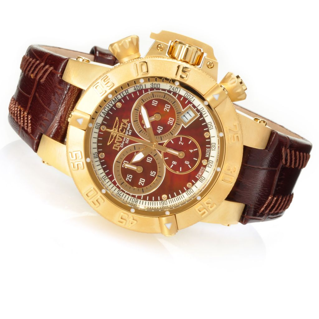 626-868 - Invicta Women's Subaqua Noma III Swiss Chronograph Mother-of-Pearl Leather Strap Watch