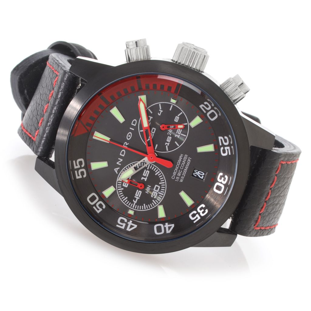 626-883 - Android 46mm Antiforce Quartz Chronograph Stainless Steel Leather Strap Watch