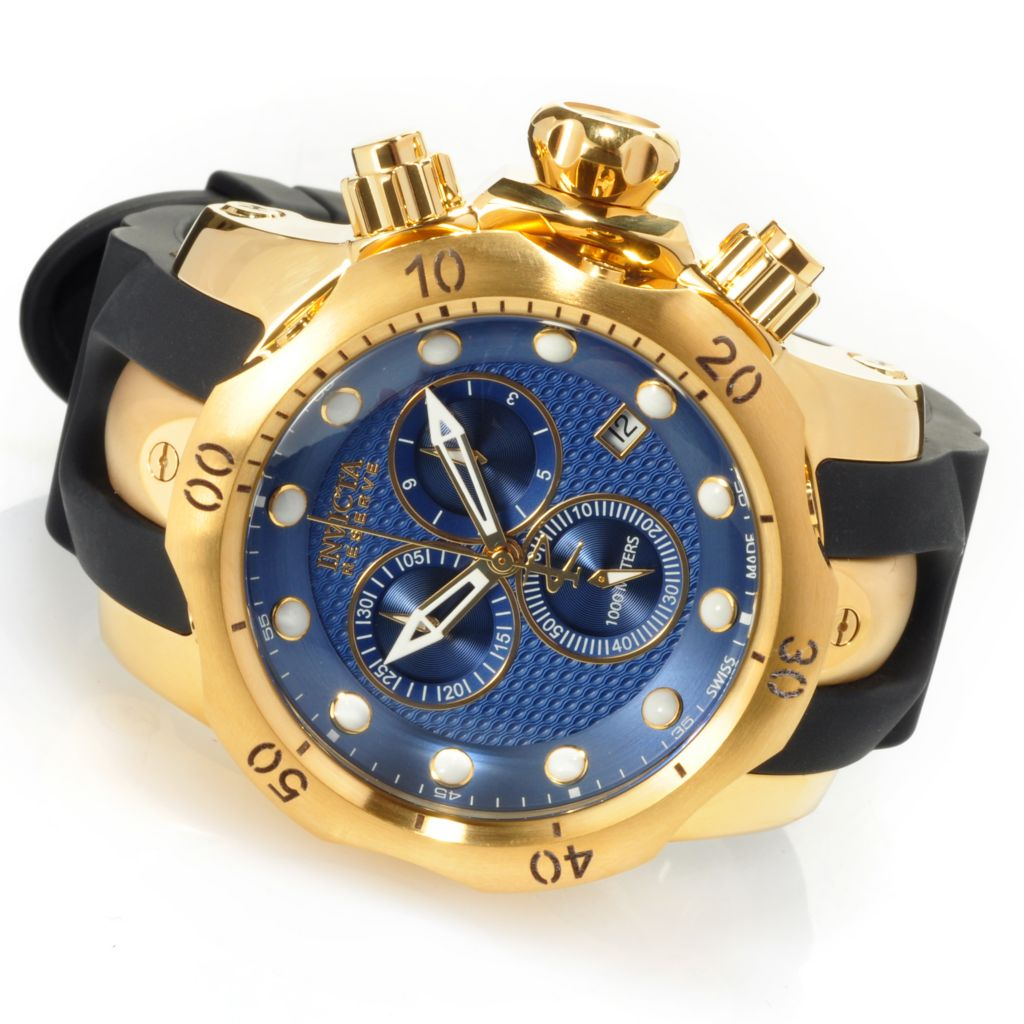 626-887 - Invicta Reserve 52mm Venom Swiss Quartz Chronograph Polyurethane Strap Watch w/ One-Slot Dive Case