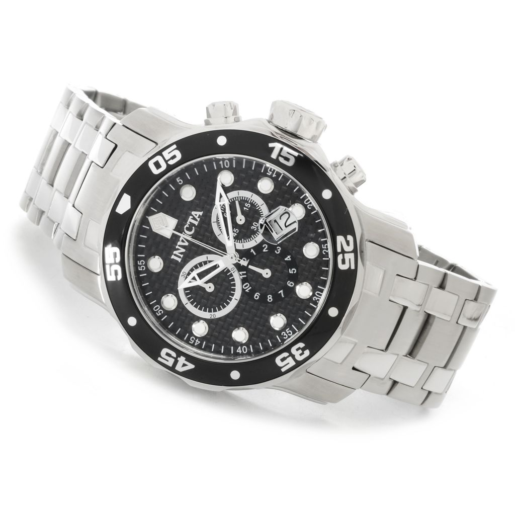 626-888 - Invicta 48mm Pro Diver Scuba Quartz Chronograph Bracelet Watch w/ Eight-Slot Dive Case