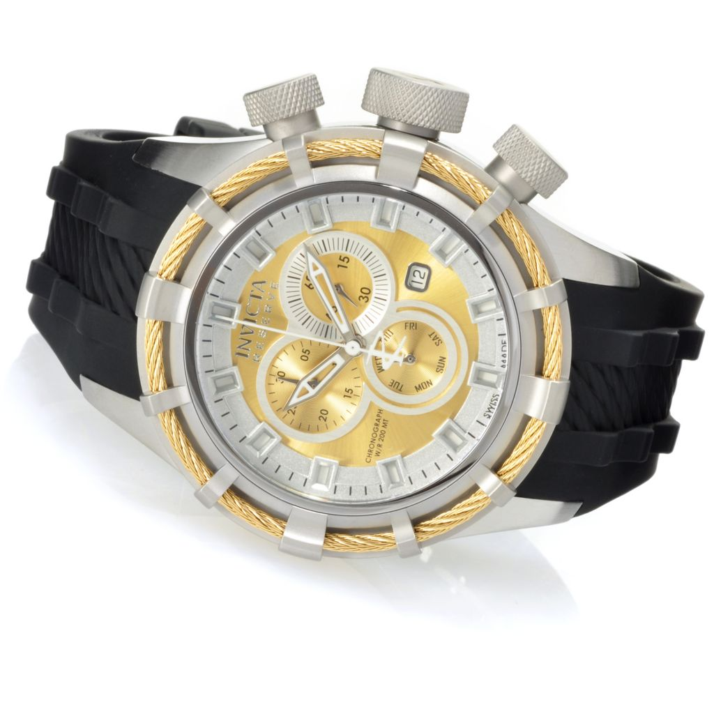 626-895 - Invicta Reserve 50mm Bolt Swiss Quartz Chronograph Silicone Strap Watch w/ Eight-Slot Dive Case