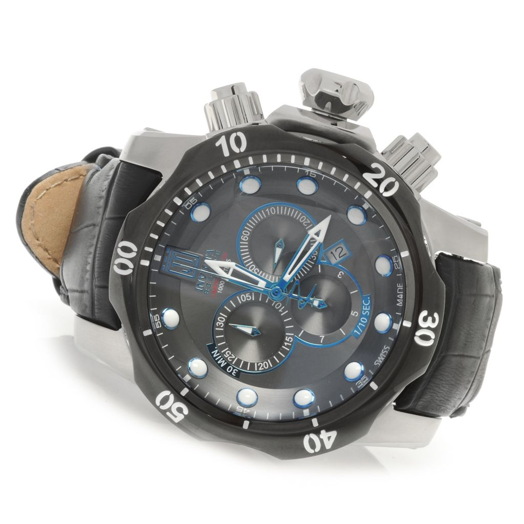 626-907 - Invicta Reserve 54mm Jason Taylor Venom Swiss Made Chronograph Strap Watch w/ Eight-Slot Dive Case