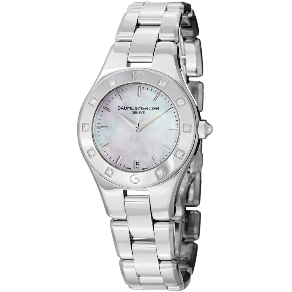 626-923 - Baume & Mercier Women's Linea Swiss Made Quartz Mother-of-Pearl Dial Diamond Accented Bracelet Watch
