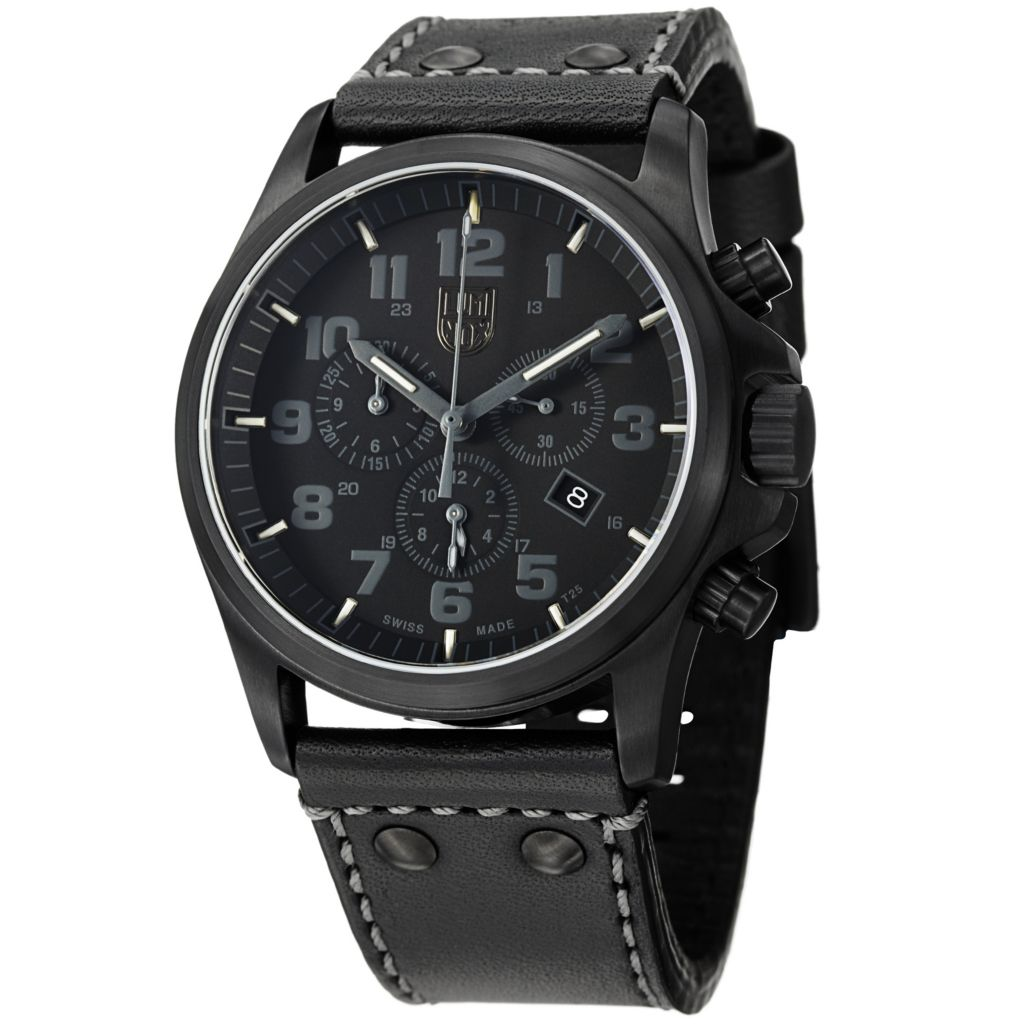 626-925 - Luminox 45mm Atacama Swiss Made Quartz Chronograph Leather Strap Watch
