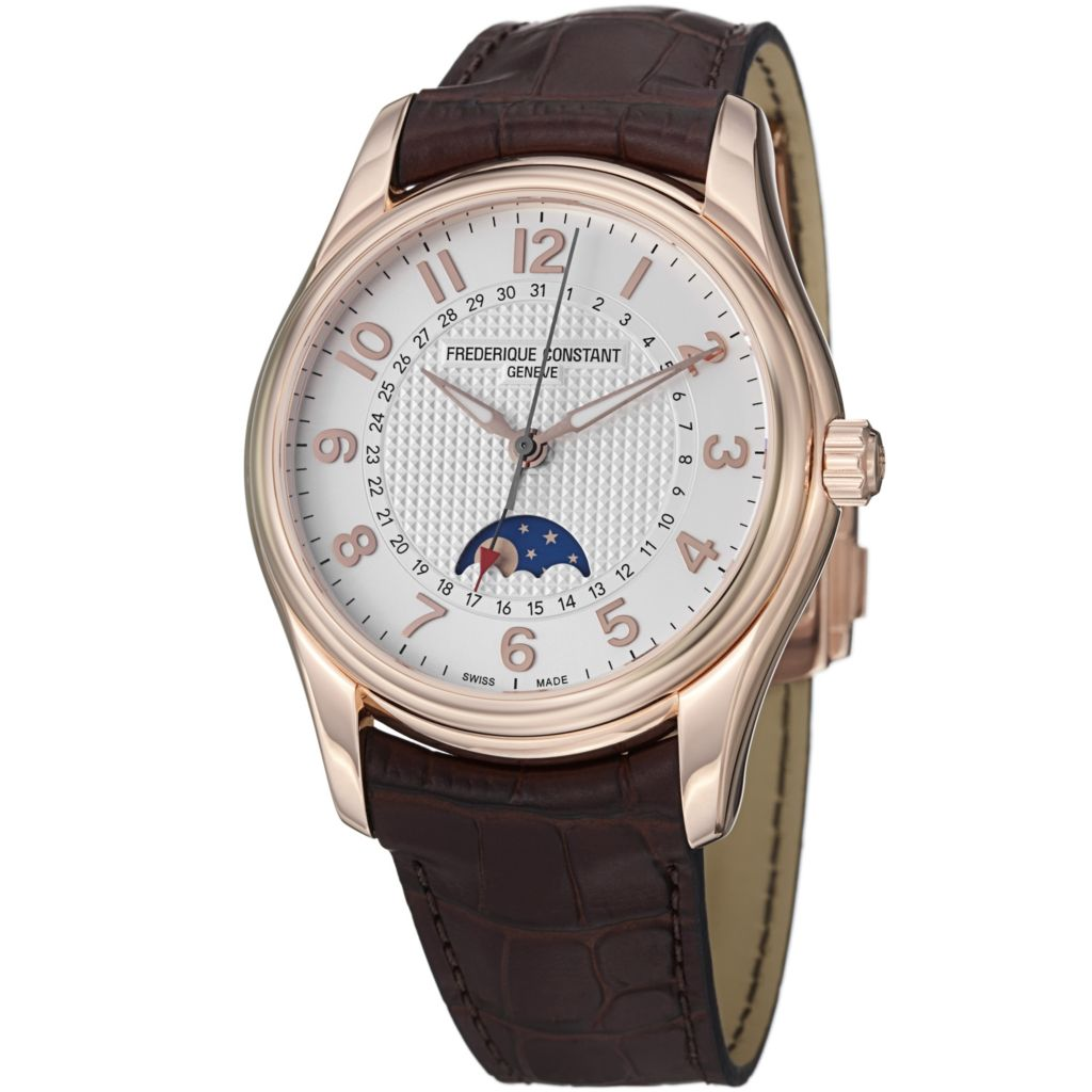 626-931 - Frederique Constant 43mm Runabout Swiss Automatic Moonphase Leather Strap Watch