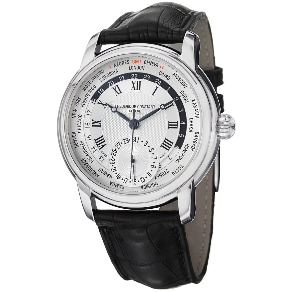 626-932 - Frederique Constant 42mm Worldtimer Swiss Automatic Leather Strap Watch