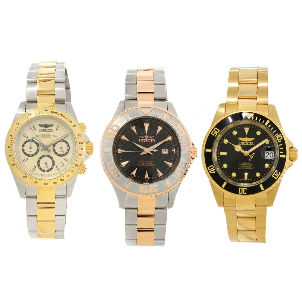 626-946 - Invicta Set of Three Bracelet Watches w/ Three-Slot Dive Case